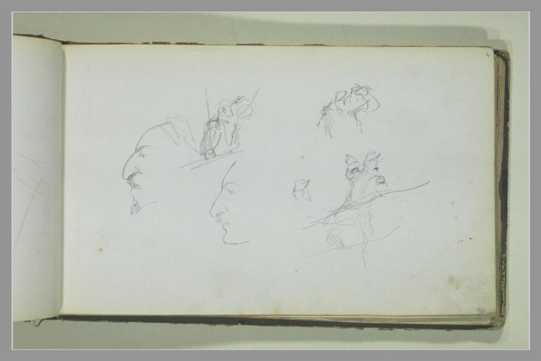 YVON Adolphe : Etudes de soldats et deux têtes de profil
