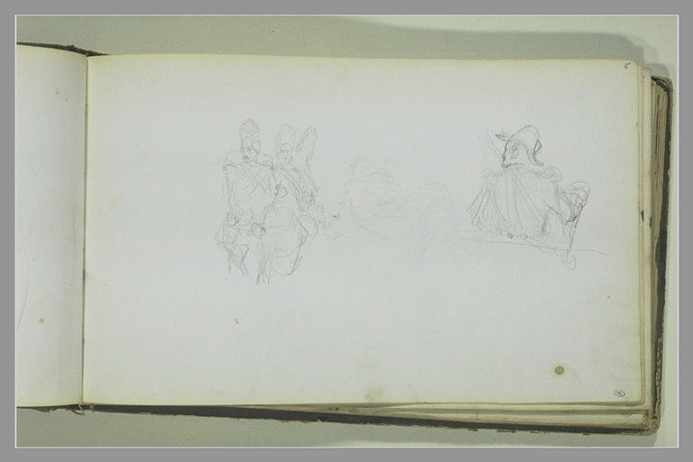 Deux soldats ; figure nue allongée ; cavalier, à mi-corps, de dos