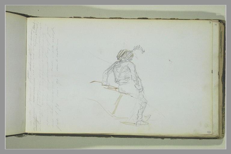 Soldat assis, vu de dos ; note manuscrite