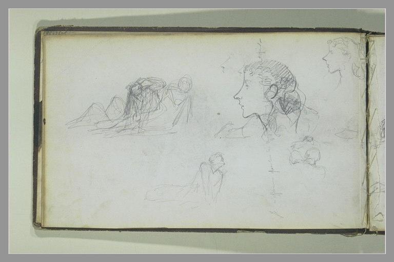 Etudes de soldats ; deux études d'une tête de jeune femme ; note manuscrite