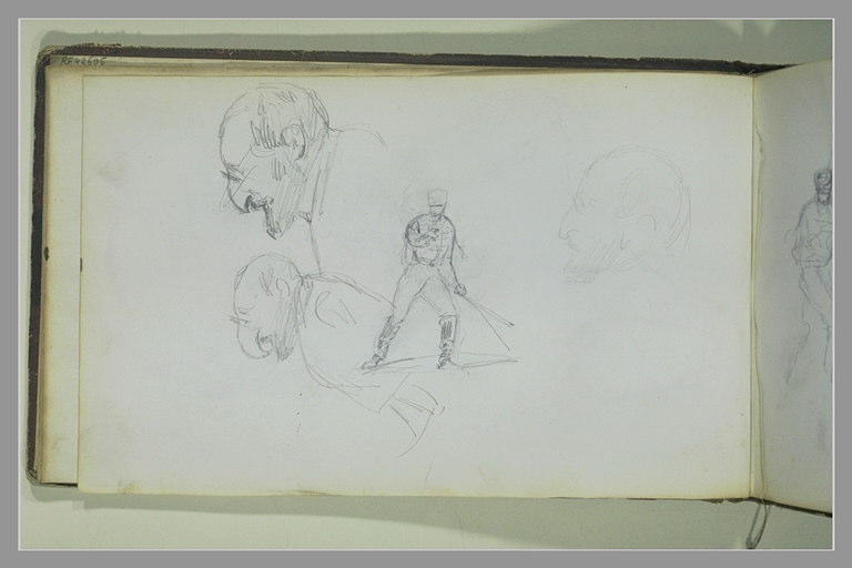 Un soldat armé d'une épée ; trois têtes de profil_0