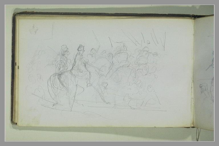 Cavaliers parmi un groupe de soldats_0