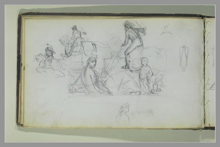 Etudes de cavaliers ; composition avec une femme et un enfant ; croquis