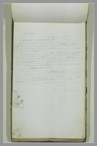 YVON Adolphe : Note manuscrite, tête d'homme de profil