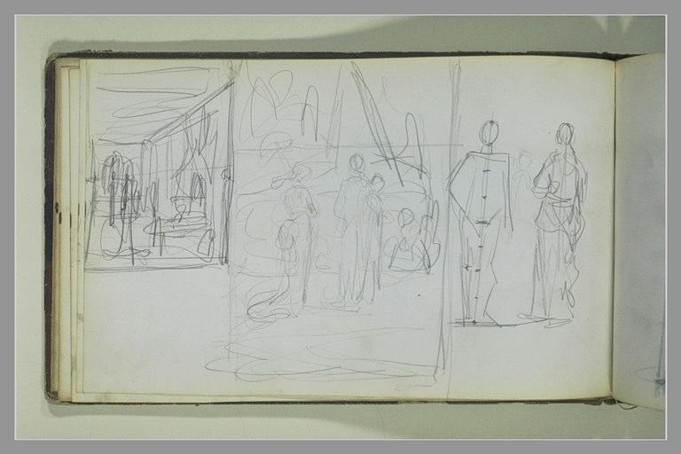 YVON Adolphe : Deux études de compositions, deux figures debout
