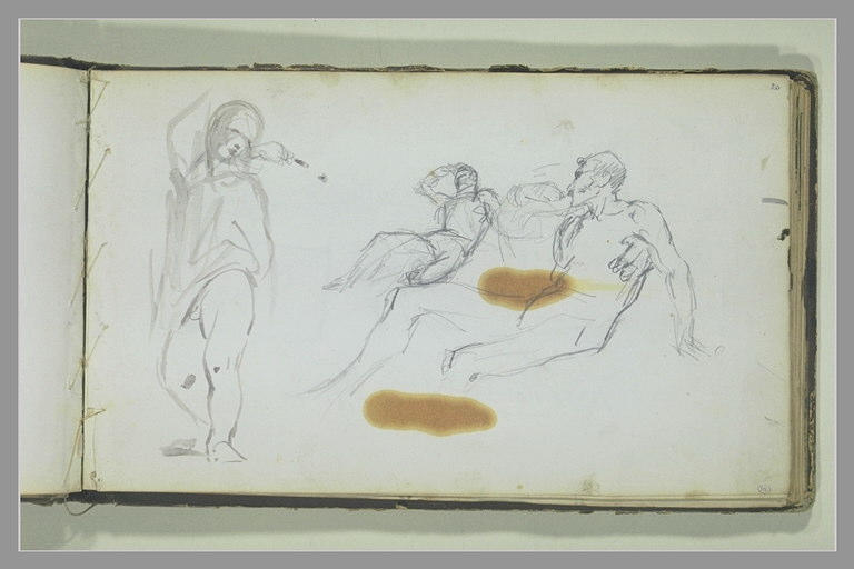 YVON Adolphe : Un enfant, deux études d'hommes allongés