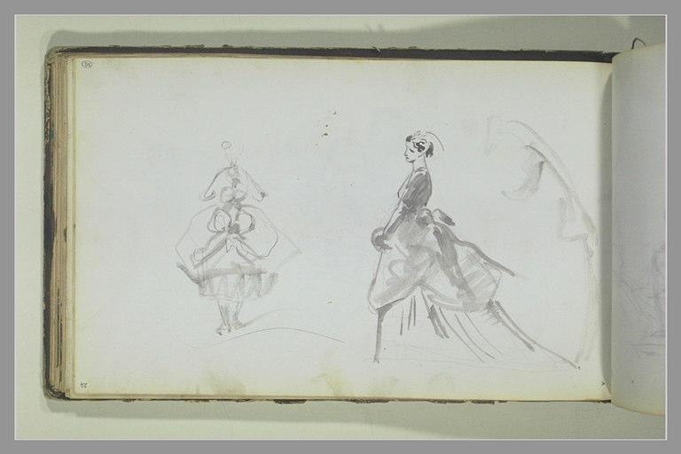 Deux croquis de femme vêtue d'une robe