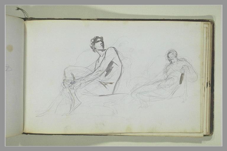Deux études d'une femme assise