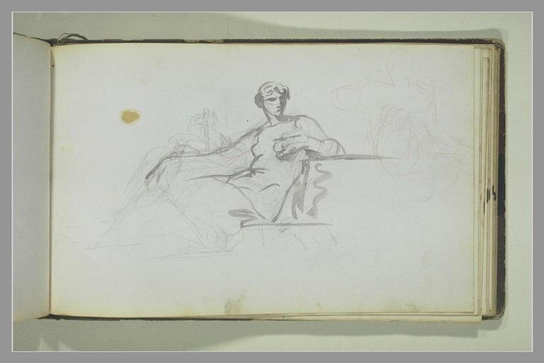 Une femme assise ; figures