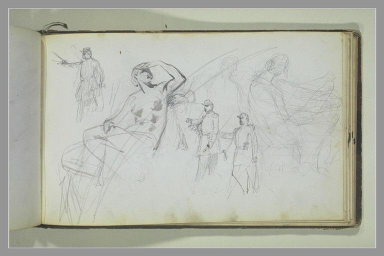 YVON Adolphe : Une figure assise, études de soldats, figures
