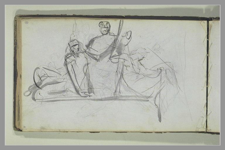 Etude de trois figures d'un monument