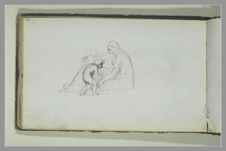 Un putti près d'une femme assise à terre