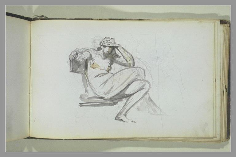 Femme nue assise, les jambes croisées, la main gauche sur le front