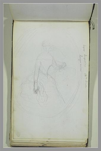 YVON Adolphe : Portrait de femme en robe, dans un médaillon