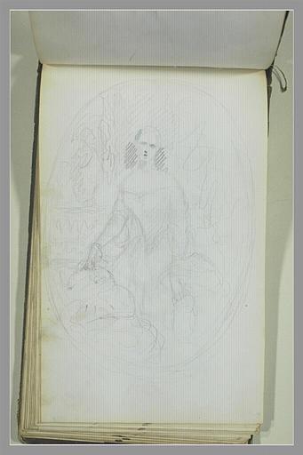 Portrait de femme en robe, dans un médaillon