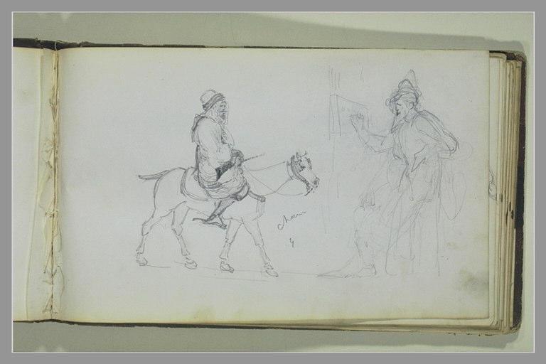 YVON Adolphe : Oriental à cheval, homme écrivant