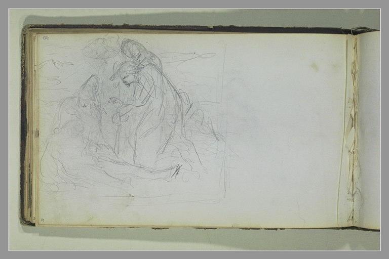 YVON Adolphe : Composition avec un homme étendu entouré de figures
