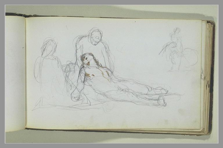 Un homme étendu à terre entouré de deux figures