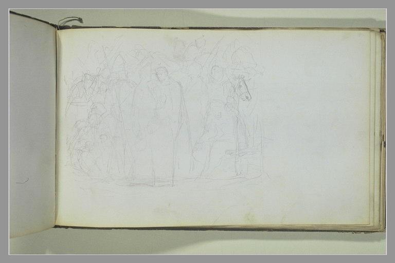 YVON Adolphe : Deux figures entourées de cavaliers