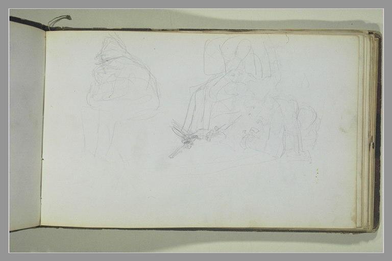YVON Adolphe : Un soldat assis, les coudes sur les genoux, figures