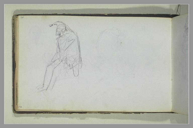 Un soldat assis, les coudes sur les genoux ; figure assise, de dos