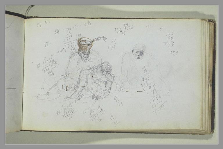 YVON Adolphe : Un soldat penché sur une figure étendue, annotations chiffrées