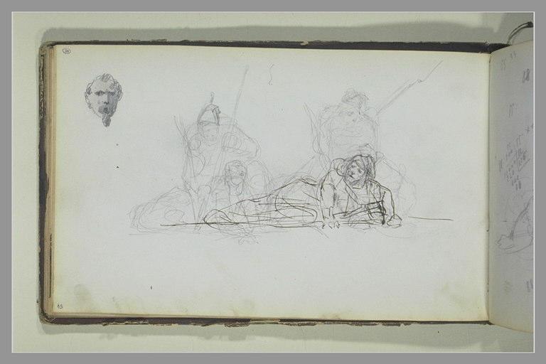 YVON Adolphe : Tête d'homme barbu, groupe de soldats