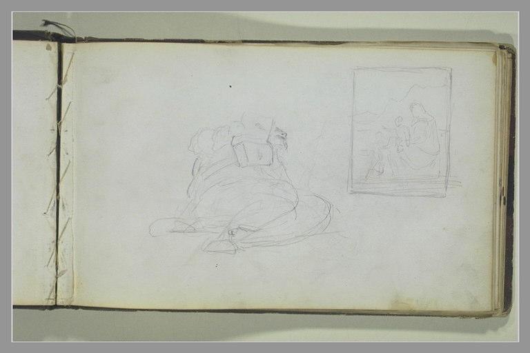 Un homme, à demi-couché, tenant un livre ; Vierge à l'Enfant et saint Jean_0