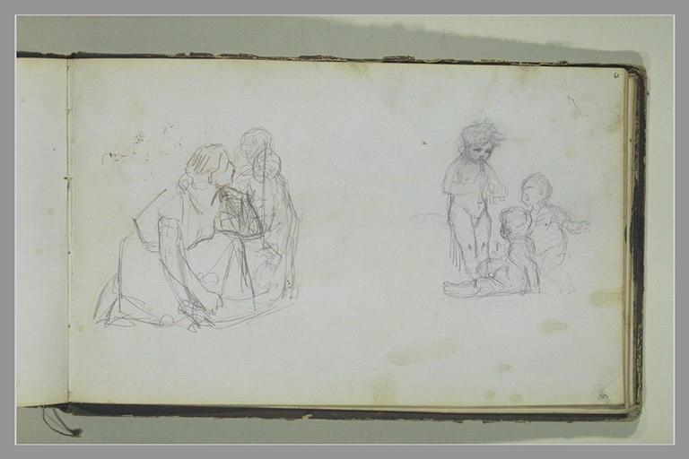 Une femme agenouillée et un enfant ; groupe de trois putti_0