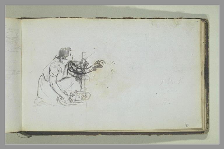 YVON Adolphe : Une femme agenouillée tenant des fruits