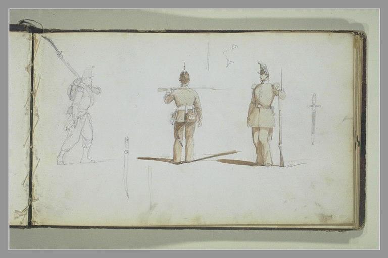 YVON Adolphe : Trois études de soldats, sabres