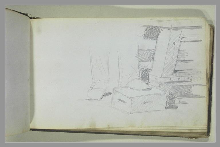 YVON Adolphe : Pieds sur un coffre au bas d'une commode