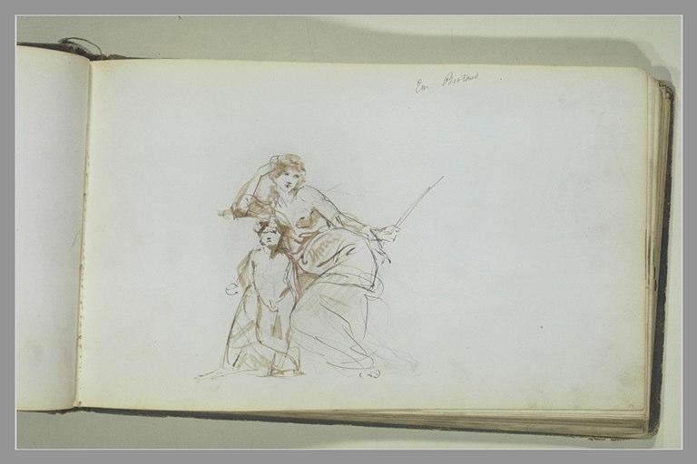 YVON Adolphe : Une femme assise et un enfant