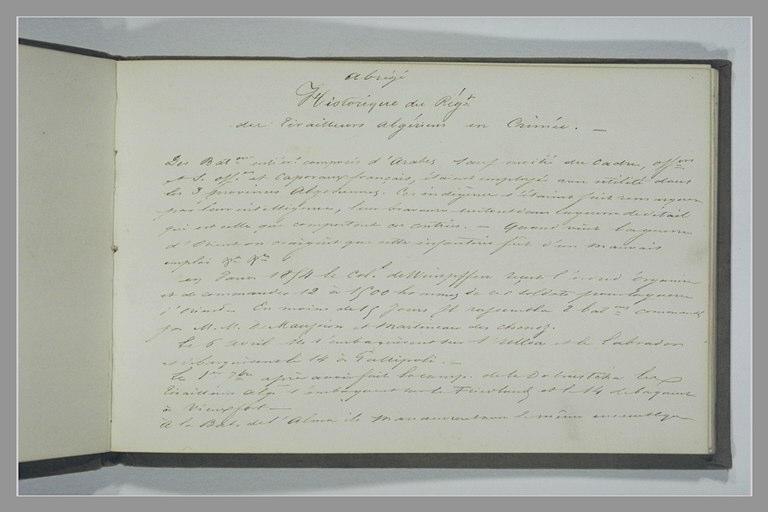 Note manuscrite : Abrégé Historique du Régt des Tirailleurs algériens