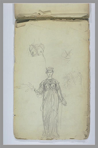 YVON Adolphe : Etudes d'une femme couronée, drapée à l'antique