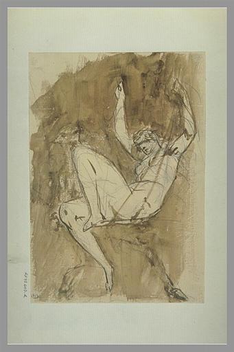 YVON Adolphe : Femme assise, les bras levés