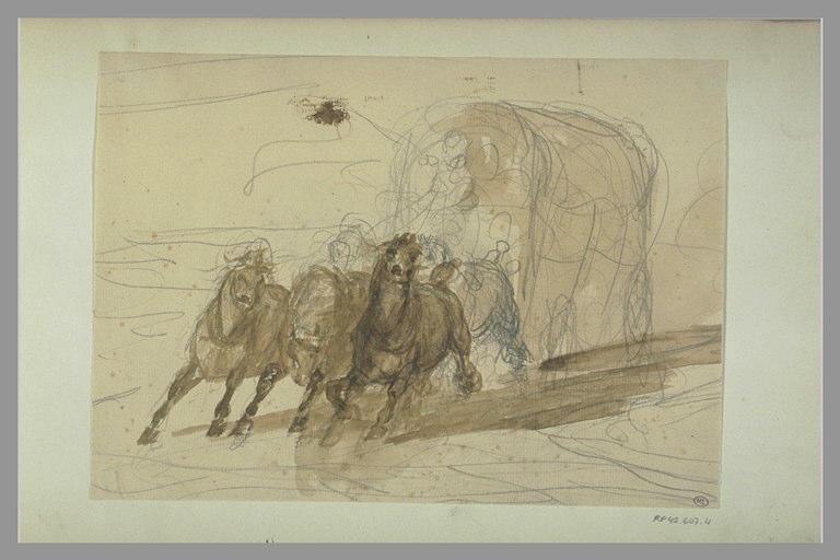 YVON Adolphe : Voiture tirée par des chevaux