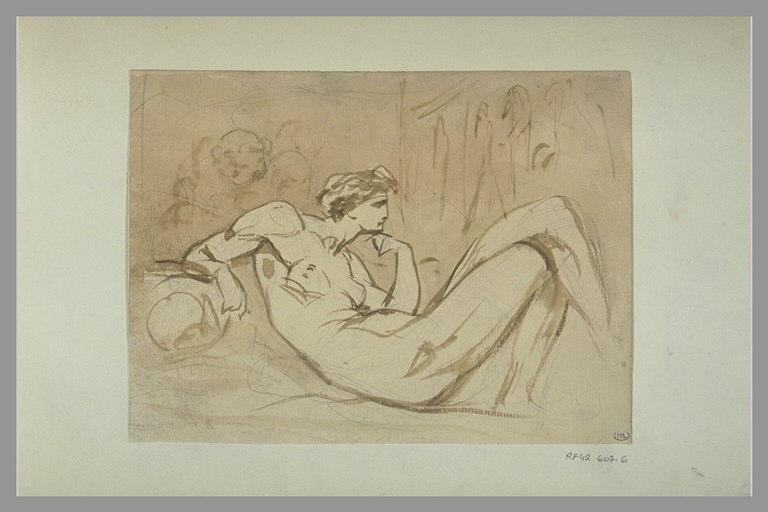 YVON Adolphe : Femme, à demi allongée, les jambes croisés