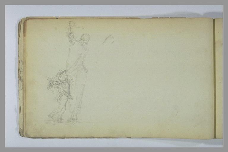 YVON Adolphe : Enfant ailée près d'une figure debout, tête