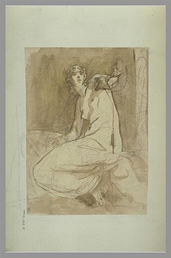 Femme, à demi drapée, assise