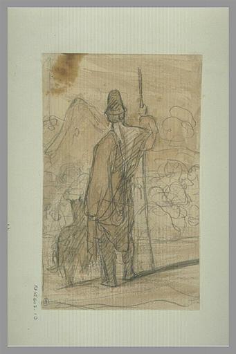 YVON Adolphe : Gardien de troupeau et son chien, vus de dos, dans un paysage