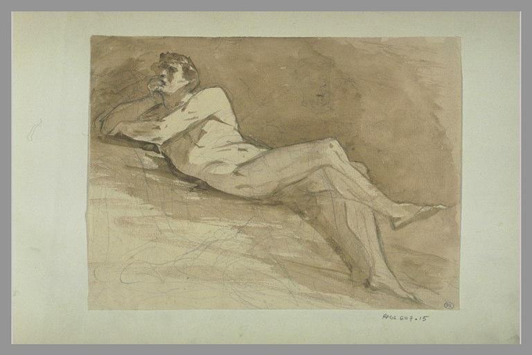 YVON Adolphe : Homme nu allongé