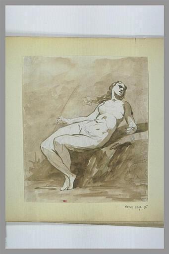 Femme nue, assise, dans un paysage_0