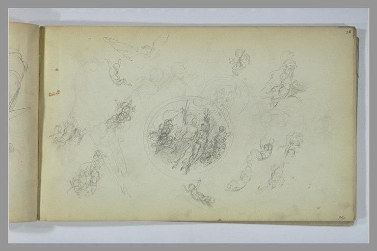 Etude d'une composition avec figures ; croquis de figures