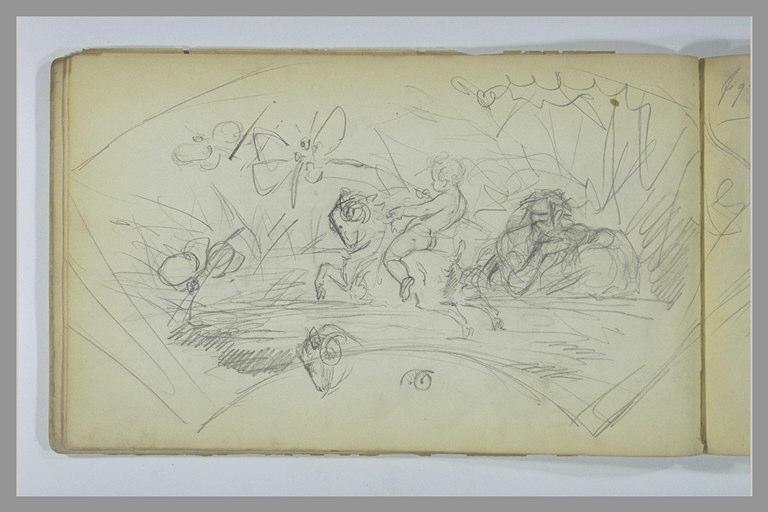 YVON Adolphe : Composition en forme d'éventail avec un putto sur un bélier