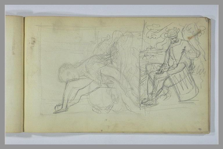 Portrait de femme ; homme jouant du tambour ; jambes
