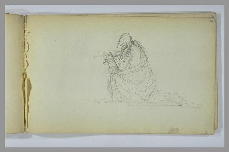 YVON Adolphe : Homme agenouillé, vu de profil, tourné vers la gauche