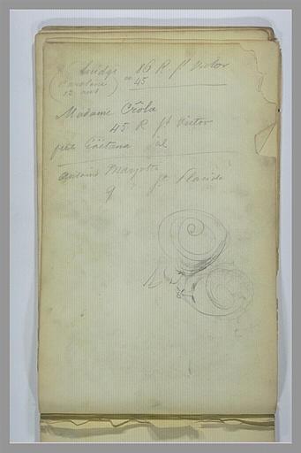 Annotations manuscrites ; deux têtes