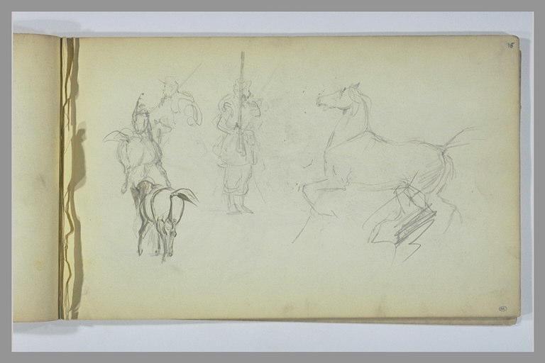 YVON Adolphe : Etudes de chevaux et de soldats