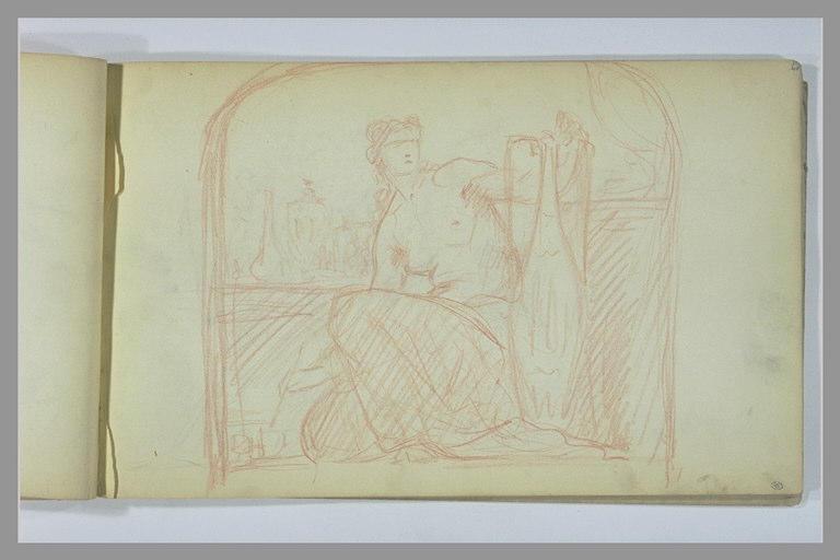YVON Adolphe : Femme, la poitrine dénudée, peignant une vase dans un atelier de céramiste
